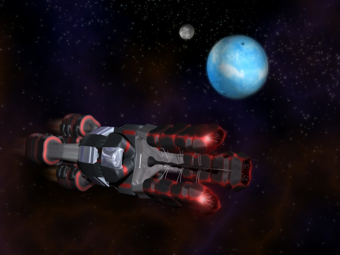 Side view of Black and Red Space Craft in Action in Space with two Planets